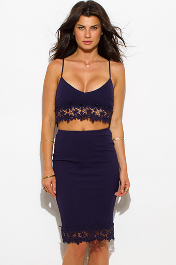 $25 - Cute cheap blue party dress - navy blue crochet trim bodycon fitted two piece set midi sexy club pencil dress