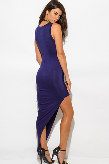 $15 - Cute cheap clothes - navy blue draped asymmetrical high low hem jersey bodycon maxi sexy party dress