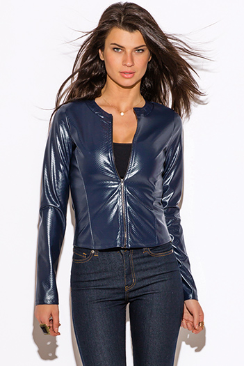 $20 - Cute cheap clothes - navy blue faux leather croc embossed zip up moto jacket