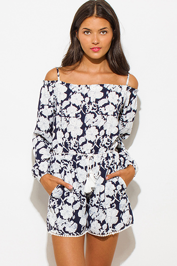 $30 - Cute cheap off shoulder jumpsuit - navy blue floral print off shoulder long sleeve drawstring waisted pocketed romper playsuit jumpsuit