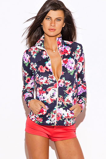 $15 - Cute cheap clothes - navy blue floral print scuba zip up high neck fitted sporty long sleeve jacket top