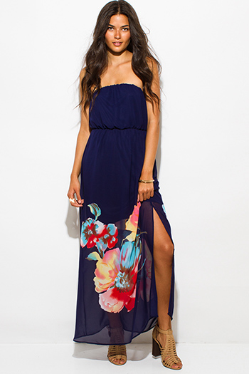 $15 - Cute cheap blue draped babydoll dress - navy blue floral print chiffon strapless high slit formal summer evening maxi sun dress