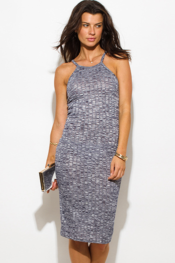$15 - Cute cheap blue draped dress - navy blue gray ribbed knit halter spaghetti strap racer back fitted bodycon sweater midi dress