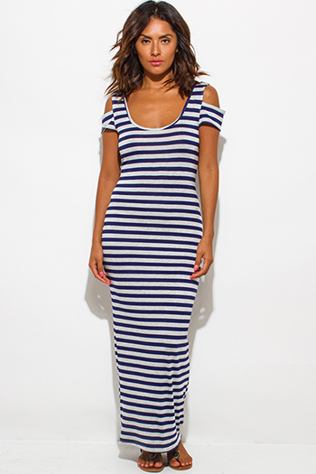 $15 - Cute cheap cold shoulder dress - navy blue gray stripe jersey cut out cold shoulder open back ankle maxi dress