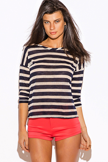 $10 - Cute cheap clothes - navy blue ivory stripe nautical print cut out back quarter sleeve tee shirt top