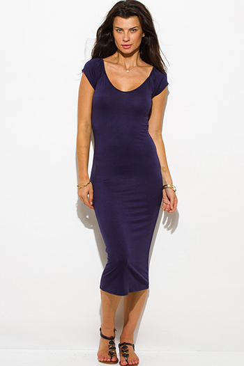 $15 - Cute cheap off shoulder dress - navy blue jersey cap sleeve off shoulder bodycon fitted midi dress