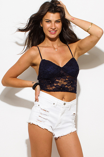 $10 - Cute cheap light blue denim washed distressed sleeveless crop vest top - navy blue lace overlay v neck bralette boho sexy party crop top