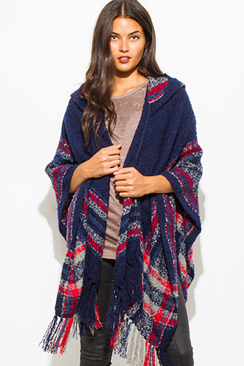 $25 - Cute cheap navy blue plaid print hooded fuzzy fringe trim boho knit poncho sweater tunic top