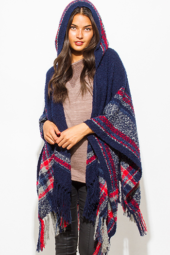 $25 - Cute cheap find sweater - navy blue plaid print hooded fuzzy fringe trim boho knit poncho sweater tunic top
