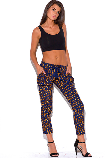$10 - Cute cheap navy blue print bow tie wasit harem ankle skinny pants