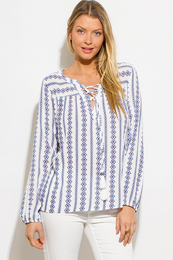 $15 - Cute cheap ethnic print chiffon top - navy blue print laceup front long sleeve boho peasant blouse top