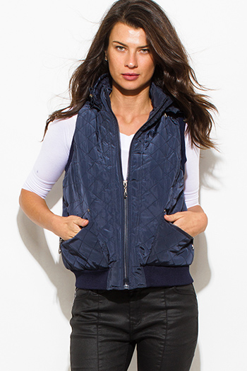$20 - Cute cheap blue mesh sexy club top - navy blue quilted faux fur lined front zip banded hooded zipper pocketed cropped puffer vest top