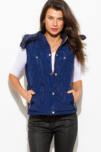 $25 - Cute cheap blue top - navy blue quilted suede contrast faux fur lined golden button zip up hooded pocketed vest top