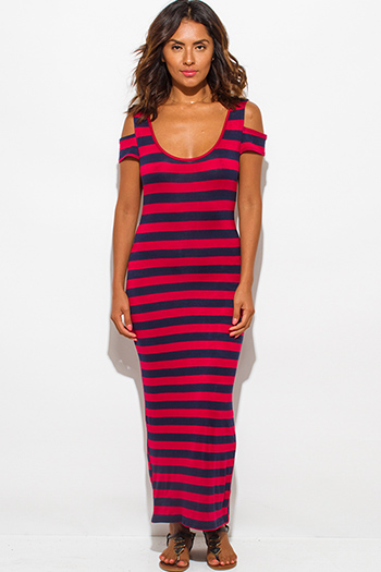 $15 - Cute cheap cold shoulder dress - navy blue red stripe jersey cut out cold shoulder open back ankle maxi dress