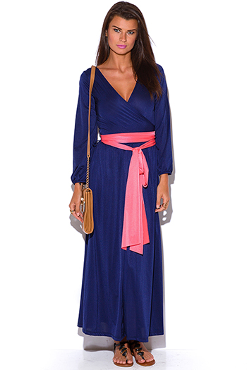 $15 - Cute cheap wrap dress.html - navy blue faux wrap deep v neck blouson long sleeve boho kimono evening maxi dress
