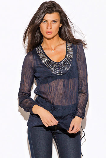 $15 - Cute cheap clothes - navy blue silk blend semi sheer chiffon crinkled bejeweled beach cover up tunic top