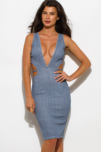 $20 - Cute cheap v neck fitted midi dress - navy blue striped textured low v neck sleeveless cut out bodycon sexy clubbing midi dress