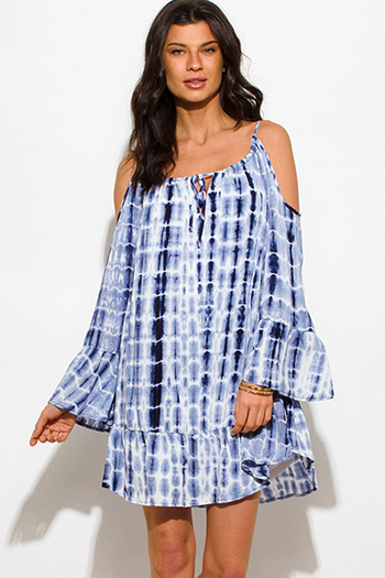 $15 - Cute cheap blue draped dress - navy blue tie dye cold shoulder long bell sleeve boho mini sun dress