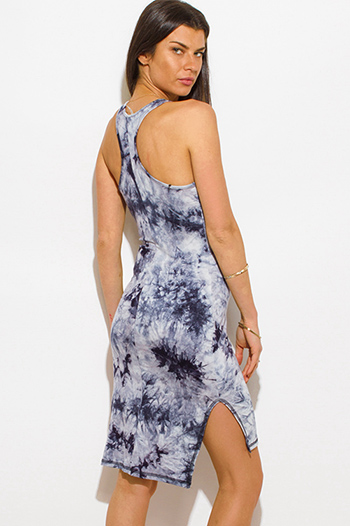 $15 - Cute cheap draped slit dress - navy blue tie dye sleeveless racer back side slit bodycon fitted sexy club midi dress
