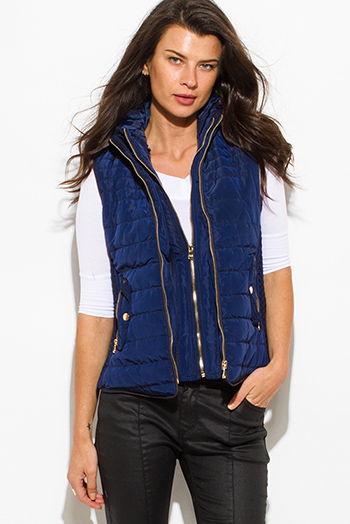 $25 - Cute cheap navy blue utilitarian double zipper faux fur lined golden button zip up hooded pocketed puffer vest top