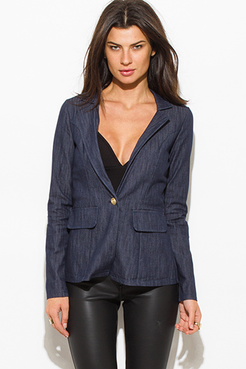 $15 - Cute cheap light blue washed denim quarter sleeve snap button up blouse top - navy denim blue long sleeve single button fitted jacket suiting blazer top