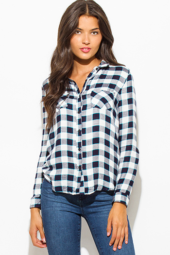 $15 - Cute cheap blue top - navy teal blue checker plaid flannel long sleeve button up top