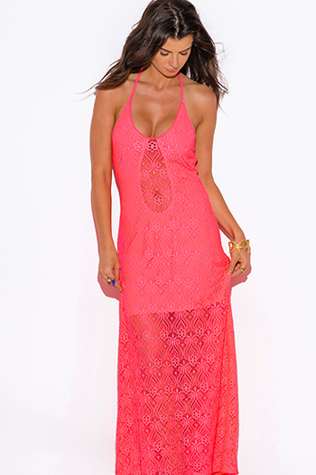 $25 - Cute cheap coral pink crepe cut out high slit rope halter wrap neck backless evening sexy party maxi sun dress - neon coral baroque crochet lace halter v neck formal summer evening party maxi dress