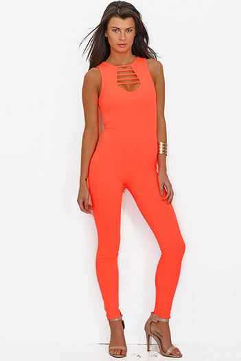 $10 - Cute cheap jumpsuit for women - neon coral crepe cut out backless bodycon fitted evening sexy party catsuit jumpsuit