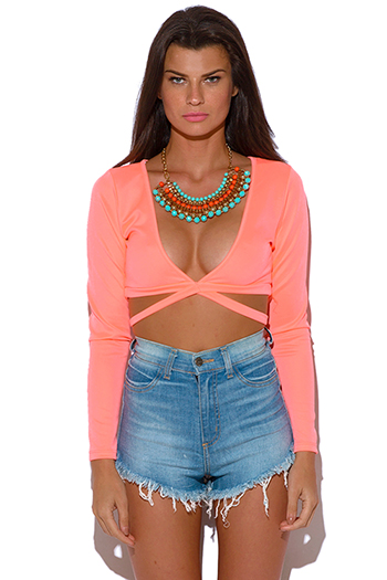 $7 - Cute cheap cut out sides banded waisted tank top - neon coral deep v neck cut out caged sexy party crop top