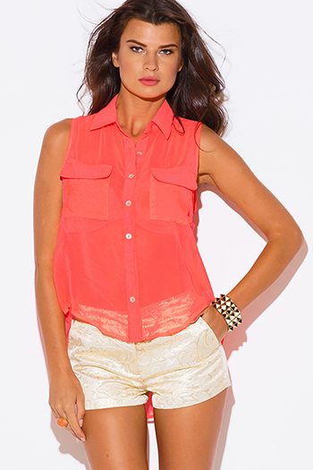 $5 - Cute cheap belted shorts attached long semi sheer skirt 20301 - neon coral semi sheer chiffon sleeveless blouse sexy party top