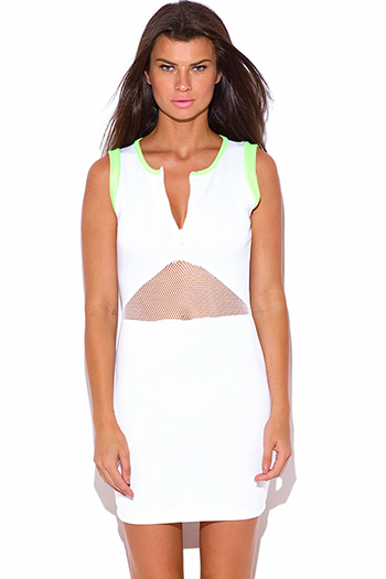 $7 - Cute cheap green party mini dress - bright white and neon green fishnet inset zip up bodycon fitted sexy club mini dress