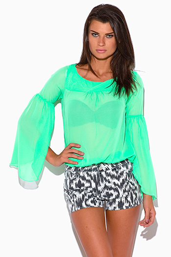 $7 - Cute cheap belted shorts attached long semi sheer skirt 20301 - spring green semi sheer chiffon bell sleeve boho blouse top