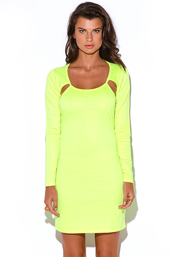 $10 - Cute cheap color green dress - neon green cut out backless fitted bodycon pencil sexy club mini dress