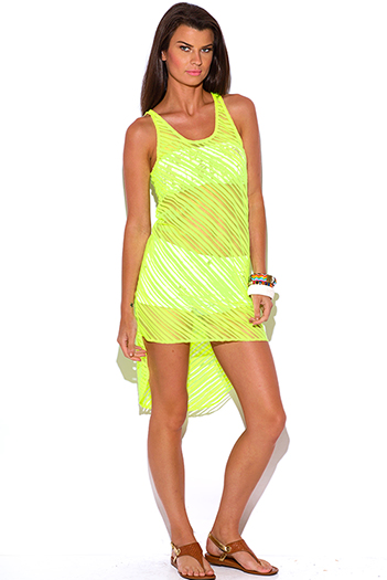 $7 - Cute cheap neon beach cover up - neon green semi sheer stripe high low see through tunic beach cover up tank top