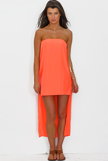 $5 - Cute cheap high low dress - neon coral orange chiffon cape high low strapless mini sun dress