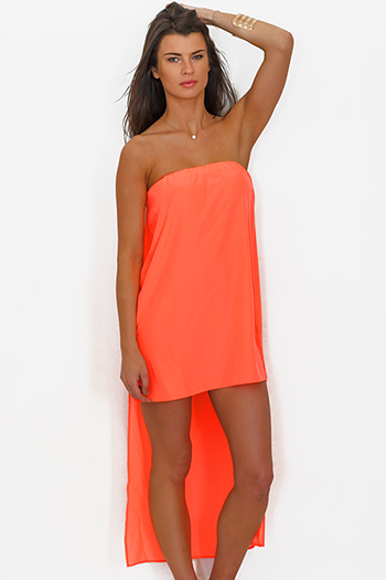 $5 - Cute cheap color coral dress - neon coral orange chiffon cape high low strapless mini sun dress