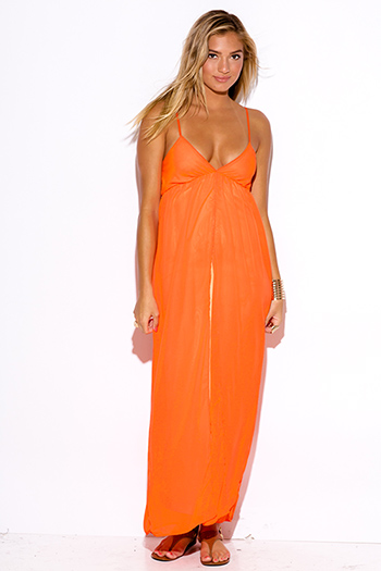$10 - Cute cheap chiffon dress - neon orange chiffon overlay babydoll high slit evening cocktail evening sexy party maxi sun dress