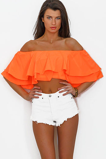 $15 - Cute cheap off shoulder top - neon orange coral ruffle off shoulder crop top