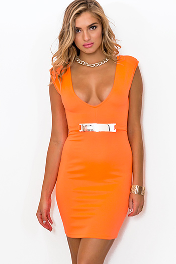 $7 - Cute cheap backless dress - neon orange deep v neck bejeweled backless fitted bodycon pencil sexy club midi dress