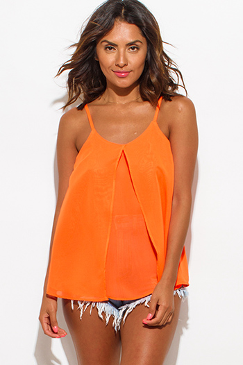 $5 - Cute cheap chiffon tops.html - neon orange semi sheer chiffon spaghetti strap tiered sexy party tank top