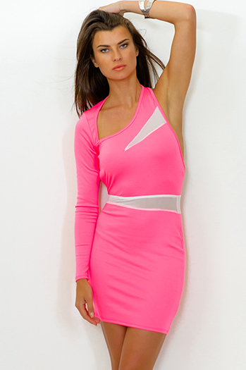 $5 - Cute cheap backless asymmetrical mini dress - neon pink backless long sleeve mesh inset fitted bodycon sexy club mini dress