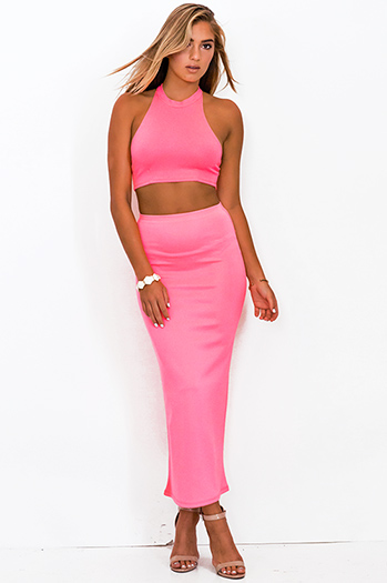 $7 - Cute cheap find pink - neon pink bodycon high waisted slit maxi skirt