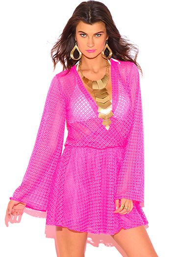 $10 - Cute cheap backless boho bell sleeve mini dress - neon pink crochet lace wrap cut out backless boho summer beach mini dress