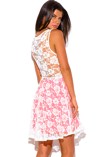 $10 - Cute cheap styles skater dress - neon pink white lace belted a line sexy party skater mini dress