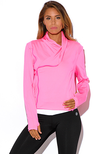 $20 - Cute cheap activewear sports tee yoga fitness sport work sporty track wear - neon pink zip up high neck athletic fitness track jacket