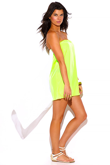 $5 - Cute cheap neon dress - neon yellow green chiffon cape high low strapless mini sun dress