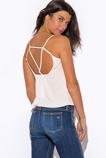 $7 - Cute cheap boho cut out top - nude beige caged cut out back tank top