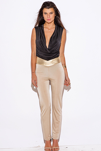 $15 - Cute cheap clothes - nude beige gold faux leather trim high waisted straight leg pants