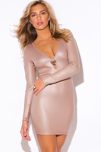 $7 - Cute cheap styles vegas dress sexy club party clubbing sequined neck bodycon metallic - nude beige faux leather deep v neck long sleeve bejeweled bodycon fitted clubbing mini dress