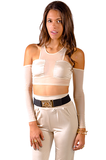 $7 - Cute cheap mesh sexy club top - nude beige mesh inset cut out cold shoulder clubbing crop top